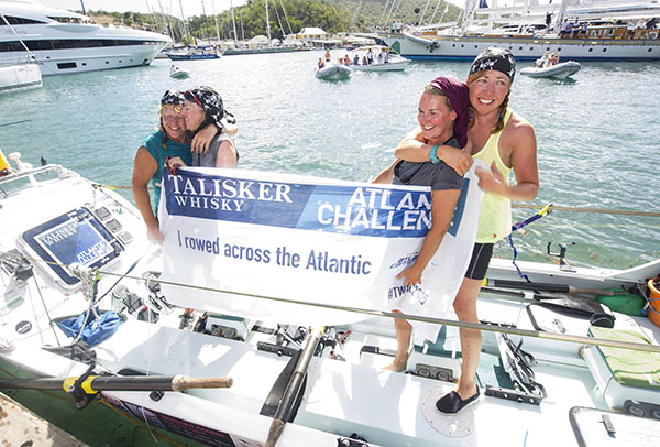 YORKSHIRE ROWS CROSS THE FINISH LINE OF THE TALISKER WHISKY ATLANTIC CHALLENGE L-R JANETTE BENADDI, FRANCES DAVIES, HELEN BUTTERS AND NIKI DOEG